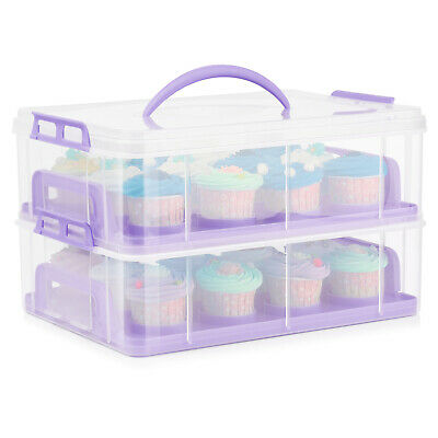 Cupcake Carrier Holder Container Box Plastic Storage Basket Courier, Purple • 21.88£
