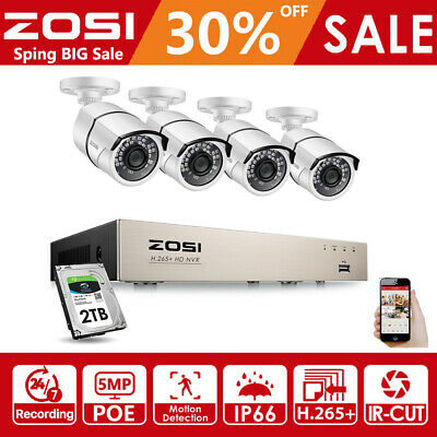 AU419.99 • Buy ZOSI H.265+ 5MP PoE Security IP Camera System 8CH NVR Home CCTV Surveillance 2TB