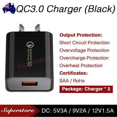 AU7.95 • Buy Qualcomm Quick Charge QC 3.0 Wall Charger AU For Universal PHONE Fast USB 18W