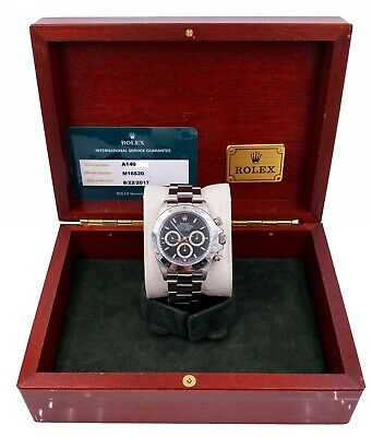 $ CDN31319.21 • Buy Rolex Daytona Zenith 16520 Black Dial Stainless Steel Box & Service Paper