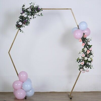 $116.96 • Buy GOLD 8 Ft Hexagon Metal Arch Backdrop Stand Party Wedding Events Decorations
