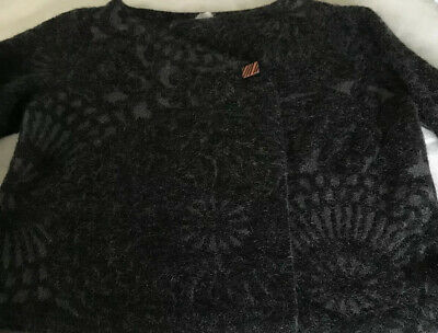 SARAH PACINI Black And Grey Tones Mohair Mix Cardigan Knitted Jacket. ONE SIZE • 40£
