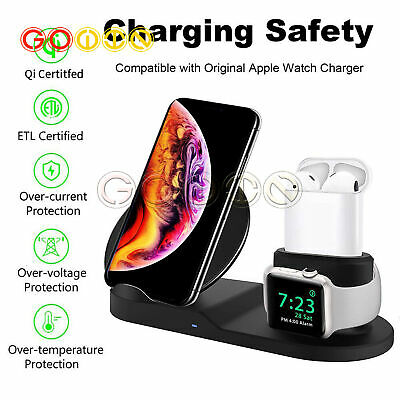 AU19.28 • Buy 3 In1 Qi Wireless Charger Dock Station Fast Charging For Apple Watch 1 2 3 4