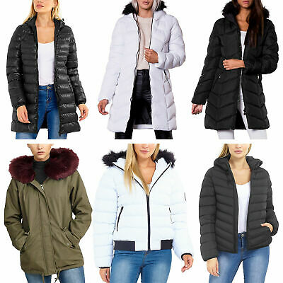 Ladies Padded Parka Jacket Women Puffa Warm Hood Collared Puffer Winter Fur Coat • 27.99£