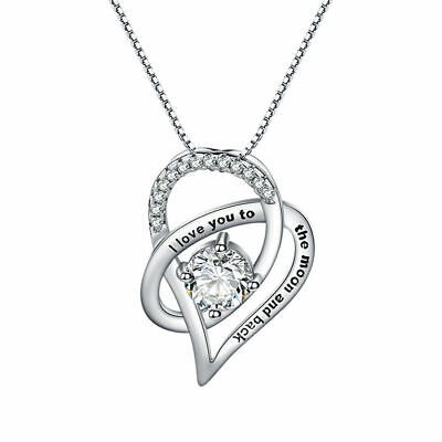 I Love You To The Moon And Back Pendant Necklace Crystals Jewellery Gift + Pouch • 3.99£
