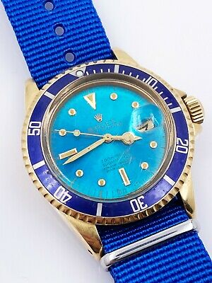 $ CDN81455.18 • Buy TROPICAL NIPPLE DIAL Vintage Rolex Submariner 1680 Blue 18K Yellow Gold RARE