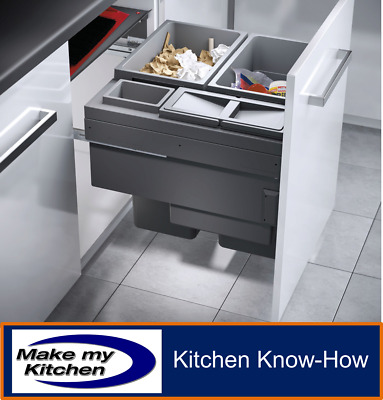 Hailo Euro Cargo 90.5L Pull Out Recycling Kitchen Bin For 600mm Unit Soft Close • 314.99£