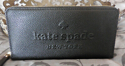 $ CDN89.51 • Buy Kate Spade ~NEDA Larchmont Ave LOGO LEATHER Zip Around Wallet ~BLACK~ NWT $189