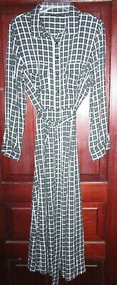 $33.59 • Buy Zara Woman Sz XL L Maxi Dress Long Plaid Checked Belt Button Down Flare Viscose