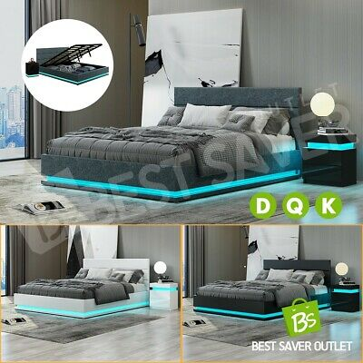 AU109.75 • Buy Bed Frame Double Queen King Leather Fabric Gas Lift Storage Furniture LED Light