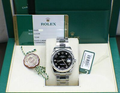 $ CDN8546.72 • Buy Rolex Date Stainless Steel 115234 Original Factory Diamond Dial Box Papers