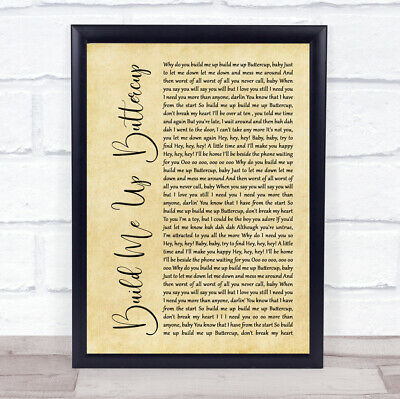 £29.95 • Buy Build Me Up Buttercup Rustic Script Song Lyric Quote Music Print