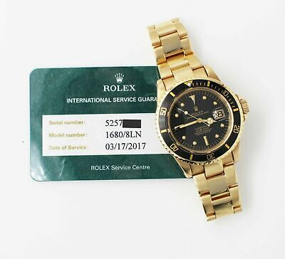 $ CDN49753.75 • Buy Vintage Rolex Submariner 1680 Nipple Dial Service Papers 18K Yellow Gold MINT