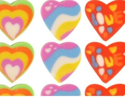 36 Mini Heart Shaped Erasers Rubbers Party Bag Treat Eraser Novelty *Very Small* • 2.45£