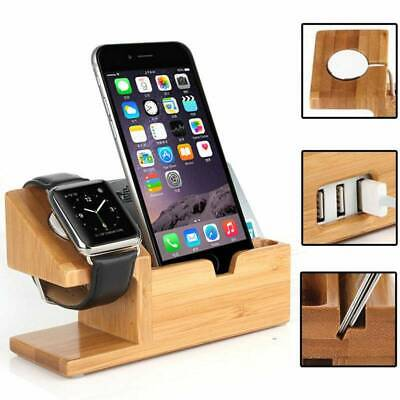 AU18.99 • Buy Bamboo Charging Dock Station Charger Holder Stand For Apple IWatch IPhone AU