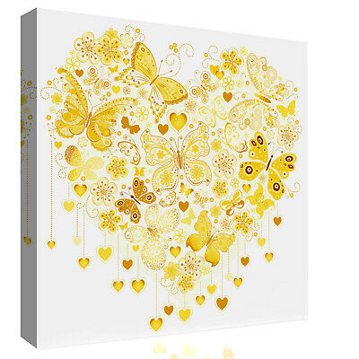 £11.49 • Buy Yellow / Mustard Heart Of Butterflies Abstract Canvas Wall Art Picture Print