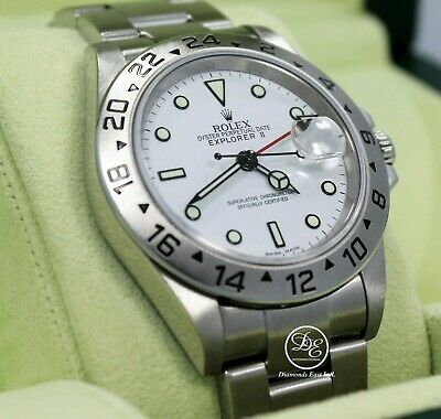 $ CDN11614.66 • Buy Rolex Explorer II 16570 GMT Oyster Date White Dial Box Papers Mint Condition