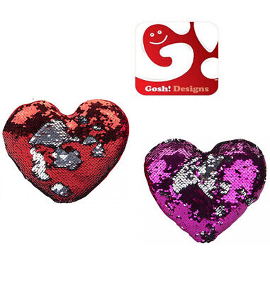 GOSHI LOVE HEART Sequin Cushion Reversible 2 Colours Design GIFT Valentines Day  • 7.99£