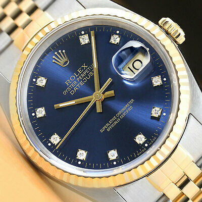 $6499 • Buy Authentic Rolex Mens Datejust 16233 Two-tone Factory Diamond Dial Watch