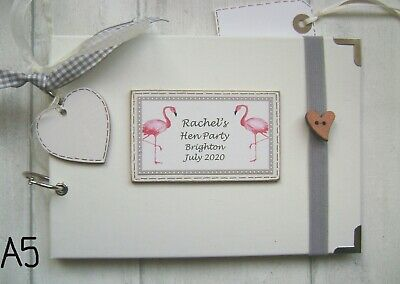 PERSONALISED  PHOTO ALBUM/SCRAPBOOK.MEMORY BOOK. Hen Party. Flamingo's • 12.50£