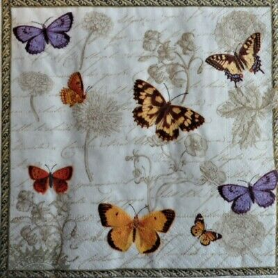 £1.35 • Buy 4 X Single Paper Napkins Decoupage Craft Table Butterfly Flowers 100