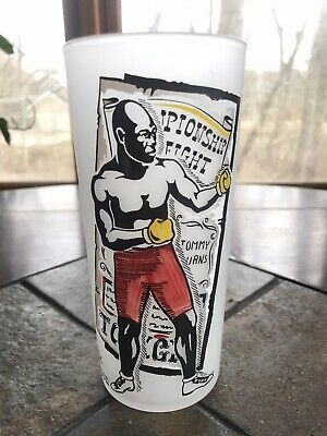 $64.99 • Buy Vintage World Champion Boxing Jack Johnson Frosted Federal Drinking Glass