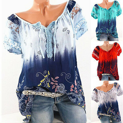 AU14.81 • Buy Womens Short Sleeve Cotton Loose T Shirt Summer Casual Blouse Tee Tops Plus Size
