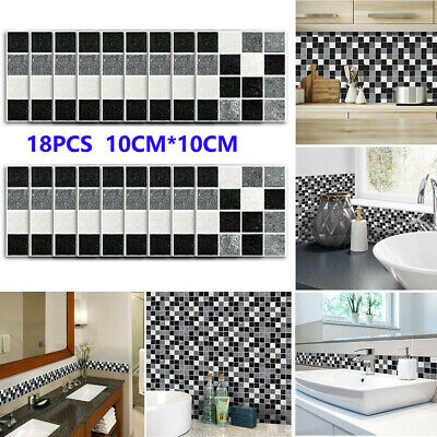 18Pcs Kitchen Tile Stickers Bathroom Mosaic Sticker Self-adhesive Wall Decor UK • 4.99£
