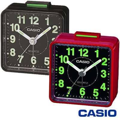 Casio Tq-140 Retro Travel Beep Alarm Clock With White Numbers Black/red - Tq140 • 6.95£