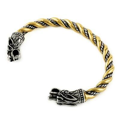Viking Odin's Wolves Gold Trim Bracelet Stainless Steel Norse Arm Ring • 17.99£