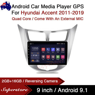 """AU399 • Buy 9"""" Android 9.1 Car Stereo Media Player GPS Head Unit For Hyundai Accent 11-19"""