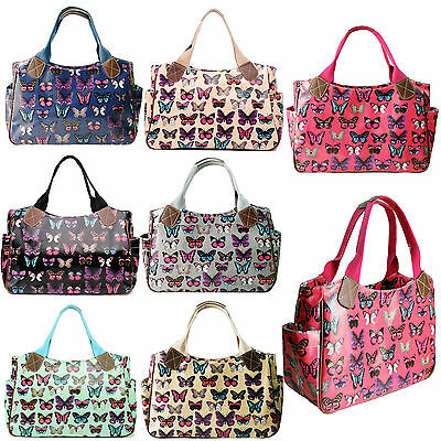 £5.99 • Buy Womens Butterfly Oilcloth Day Shoulder Carry Shopper Bag Tote Handbag