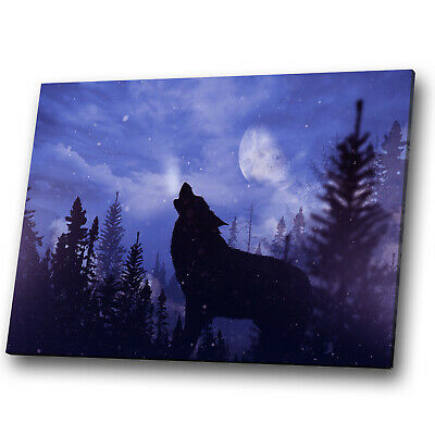 A857 Wolf Black Blue Forest Funky Animal Canvas Wall Art Large Picture Prints • 19.99£