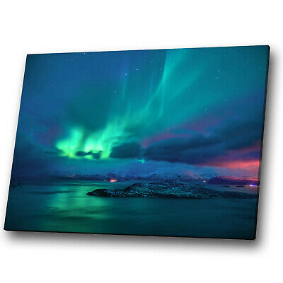 Iceland Northern Lights Blue Green Landscape Canvas Wall Art Large Picture Print • 19.99£