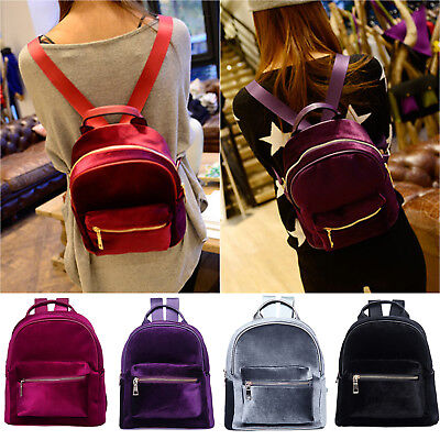 $20.29 • Buy Velvet Backpack Women Girls Travel School Small Rucksack Mini Shoulder Book Bags