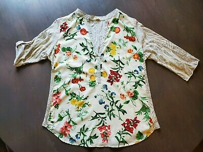 $ CDN35.24 • Buy Anthropologie Tiny Blouse Floral/Paisley Abstract Adj. Sleeves M