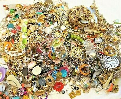 $ CDN61.83 • Buy Huge Lot Jewelry Vintage Now Junk Craft Box FULL POUNDS Necklace Brooch Earring