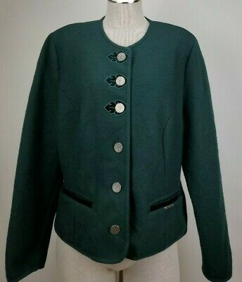 $39.55 • Buy Geiger Austria Womens Boiled Wool Button Cardigan Sweater Jacket Size 44 L Green