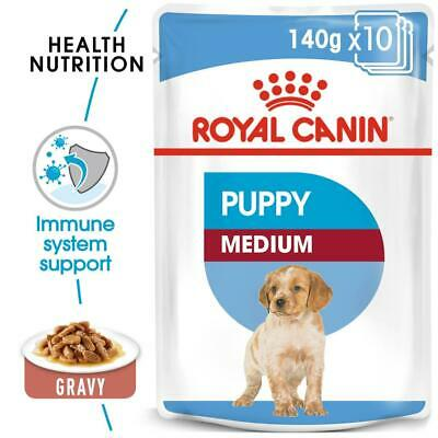 Royal Canin Medium Puppy Wet Dog Gravy Pouches 140g X 40  FREE NEXT DAY DELIVERY • 44.75£