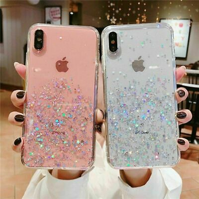For IPhone 5 6 7 8 Plus  X XS MAX SE 10 XR 11 Pro Max Glitter Clear Case Cover • 2.99£