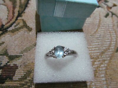 925 Silver Blue And White Topaz  Small Cluster Ring Oval And Round Gems Size R • 25£