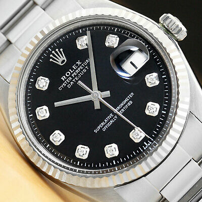 $ CDN5387.51 • Buy Mens Rolex Datejust Black Diamond Dial 18k White Gold Fluted Bezel & Steel Watch