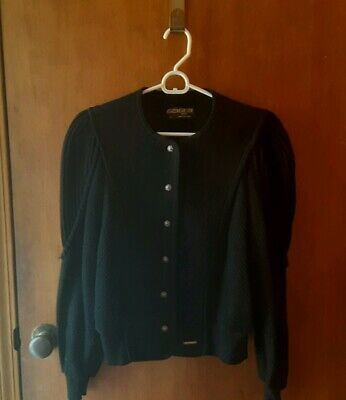 $19.95 • Buy VtG GEIGER AUSTRIA Classic Black 100% Boiled Wool Sweater Jacket SIZE 44 Tyrol