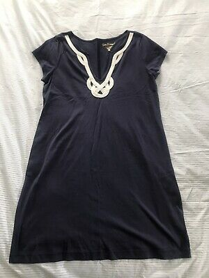 $26 • Buy Lilly Pulitzer Navy With White Trim U Neck Dress Size Large