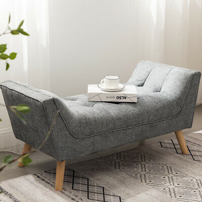Bedroom Bed End Chair Window Bench Seat Side Footstool Hallway Entryway Chenille • 99.95£