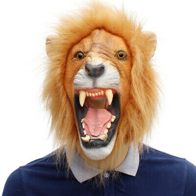2X(Halloween Props Adult Angry Lion Head Masks Animal Full Latex Masquerade3Z2) • 48.99£