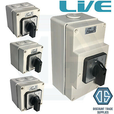 £22.95 • Buy Live IP66 Enclosed Changeover Switch 20 25 32 63 Amp 3 Pole Surface Mounted