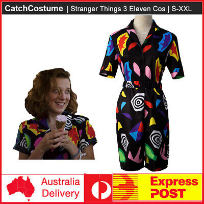 AU43.55 • Buy Stranger Things Season 3 Eleven Cosplay Costume Play Suit Dress Outfit Halloween