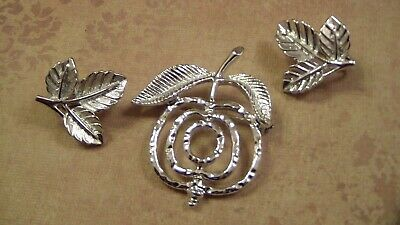 $15 • Buy Sarah Coventry Silver Fruit Brooch And Leaves Earrings Set
