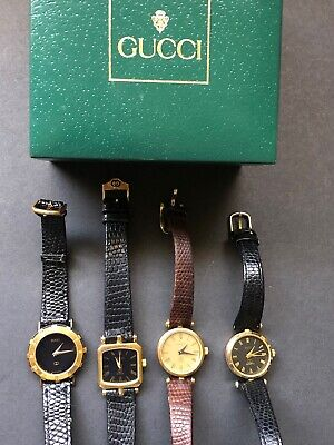 $ CDN104.47 • Buy Vtg GUCCI WATCH Lot Of 4 Womens - Brown Black Leather Bands-Rare A- W/box
